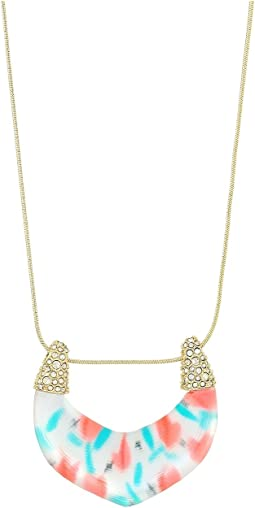 Alexis Bittar - Crystal Encrusted Tulip Print Abstract Buckle Pendant Necklace