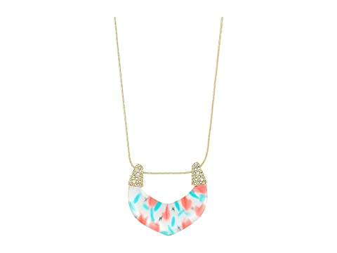 Alexis Bittar Crystal Encrusted Tulip Print Abstract Buckle Pendant Necklace