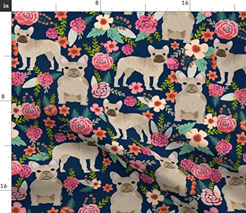 Spoonflower Fabric - French Bulldog Floral Fawn Frenchie Large Dogs Flowers Navy Pet Printed on Upholstery Velvet Fabric by The Yard - Upholstery Home Decor Bottomweight Apparel