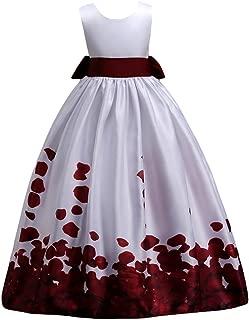 Little Big Girls Long Flower Princess Dresses Pageant Party Wedding Floor Length Dance Evening Gowns