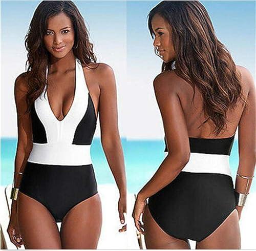 Maillot de Bain Une pièce Femme Halter plage Wear Maillot de Bain brésilien Noir Blanc Patchwork Push up Maillot de Bain Femmes Monokini