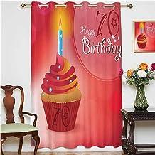 Rideau de fenêtre pour 70e anniversaire - Motif rayons de soleil abstraits avec image de cupcake - Panneau simple 160 x 18...