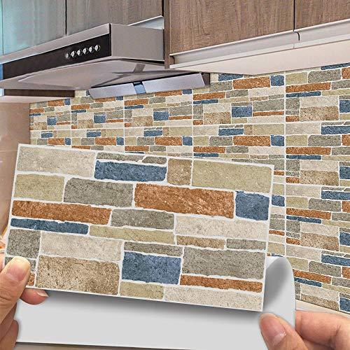 Hiseng 24/48 Piezas Rectángulo Adhesivos Decorativos Azulejos Pegatinas para Baldosas del Baño, Mármol Patrón Mosaico Estilo Cocina Resistente al Agua Pegatina de Pared (Piedras de Colores,48Piezas)