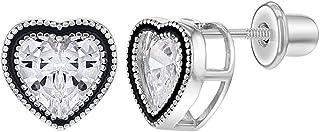 925 Sterling Silver CZ Heart Bezel Screw Back Earrings for Girls Teens