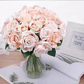 Pauwer 2pcs / 18 Fleurs Artificielles de Tête Bouquet de Rose, Faux Soie Floral Rose Fleurs pour DIY Accueil Nuptiale Fête...