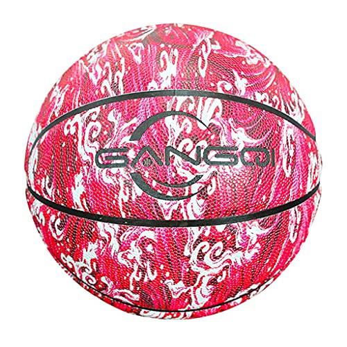 YCX Baloncesto de tamaño 5-6-7, diseño de cielo estrellado de poliuretano de alto rendimiento práctico de baloncesto (regalo de cumpleaños para niños), para interiores y exteriores, color rojo