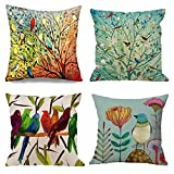 Emvency Set of 4 Throw Pillow Covers of Birds Tree Life and Green Oil Painting Hundreds Bird Decorative Pillow Cases Home Decor Square 18x18 Inches Pillowcases