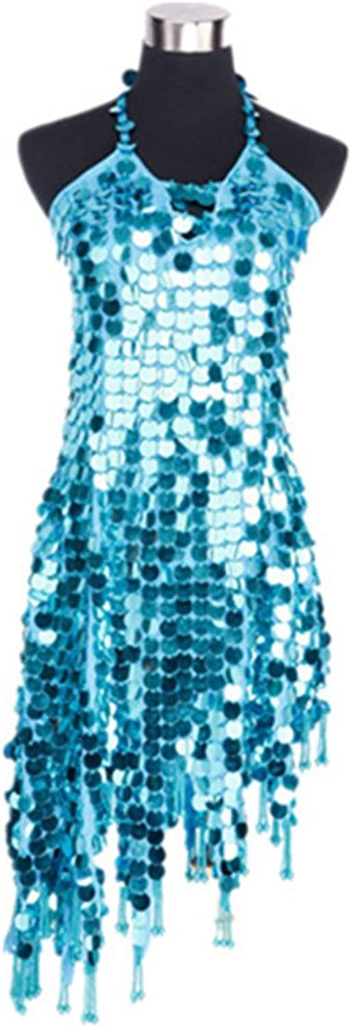 Sleeveless mesh Latin dance costume petals heart shape dress Latin dance apparel,Light bluee,free size