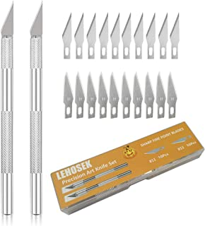 Art Knife, Lehosek Precision Hobby Craft Knife with Safety Cap Stainless Steel Art Blades Kit for Cutting Carving Art Crea...