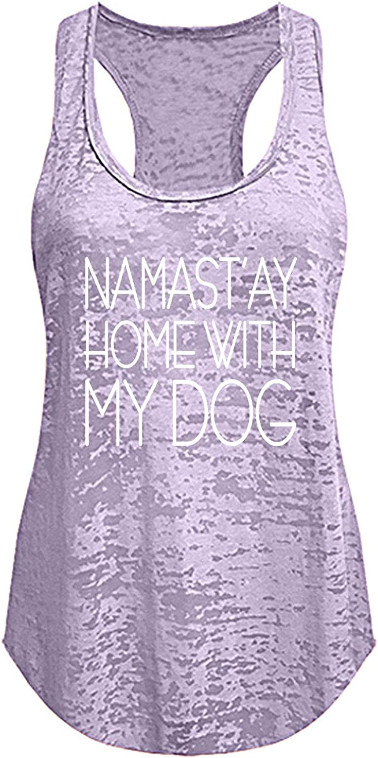 Tough Cookie Clothing Tank Top – Women's Namastay at Home with My Dog Print Workout Yoga Active Racerback Sleeveless Shirt
