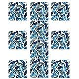 Nikou 10x10cm Hojas patrón azulejo Pegatina Impermeable Suelo Pegatina para baño Cocina Piso Pared