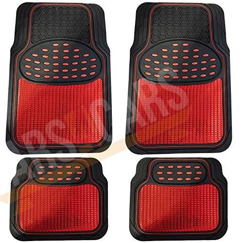 UKB4C Red Metallic Checker Style Car Heavy Duty Black Rubber Set of 4 Mats Set (4)
