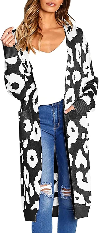Women's Long Sleeve Leopard Print Knitting Cardigan Open Front Warm Sweater Outerwear Coats with Pocket
