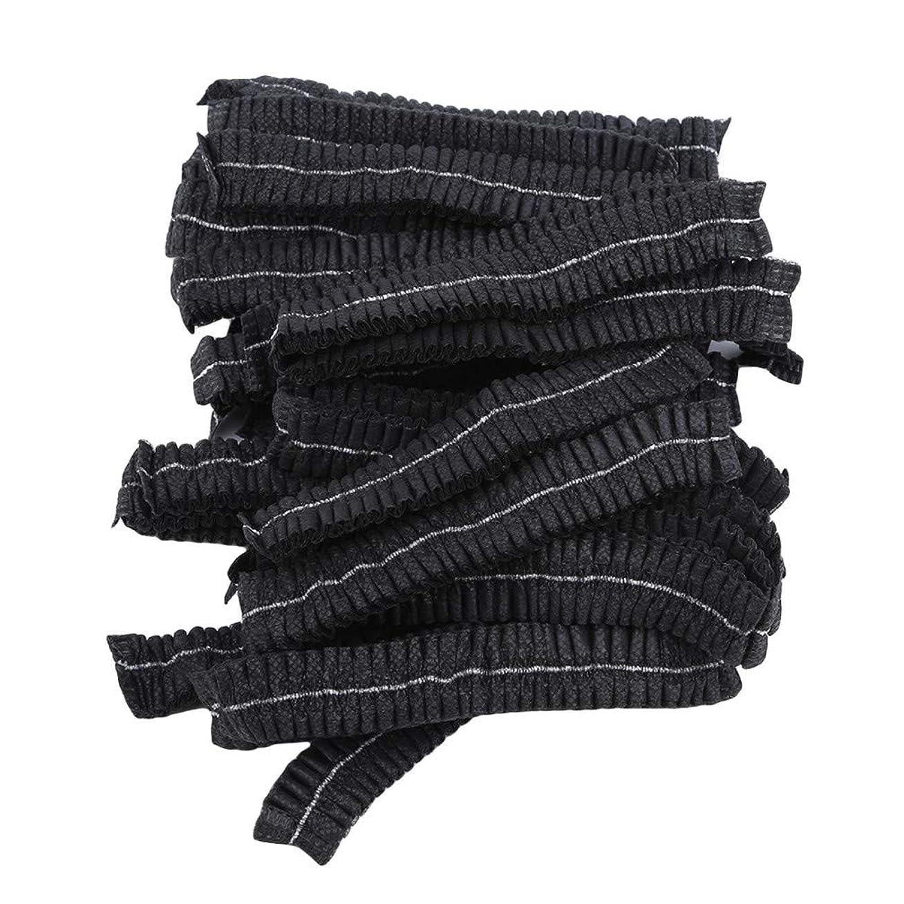 放棄フェロー諸島振る舞うLJSLYJ 100ピースマイクロブレードパーマネントメイクアップ使い捨てヘアネットキャップ滅菌帽子眉毛スタイリングツールアクセサリー、黒