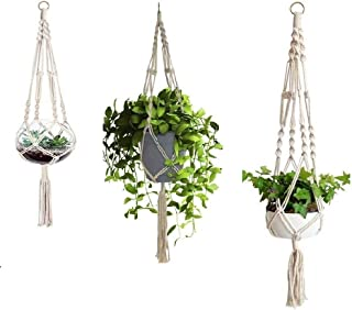 3 Pack Macrame Plant Hanger with S-L Size, Fixinus 4 Legs Cotton Woven Hanging Plant Holder Plant Pot Stand Ideal for Indo...
