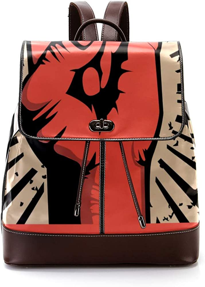 MAPOLO Red Hand In Rock Roll Sign PU Leather Backpack Fashion Shoulder Bag Rucksack Travel Bag for Women Girls