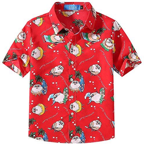 SSLR Jungen Weihnachten Hemd Hawaiihemd Kurzarm Tanz Weihnachtsmann Druck (Large, Grün Rot)