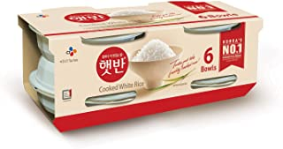 CJ Cooked White Rice, Hetbahn, 7.4-oz, Instant, Ready-To-Eat, Gluten-Free, Microwaveable (Pack Of 6)