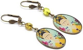 Orecchini resina Frida farfalla fiore blu giallo ottone rosa bronzo perla regali personalizzati Natale cerimonia di nozze ...