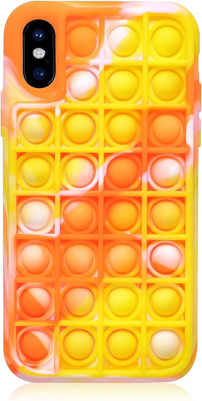 EVERMARKET Push Pop Bubble Fidget Sensory Toys Case for iPhone X/XS, Push Pop Bubble Silicone Case for iPhone X/iPhone Xs, Drop Protection Case 5.8inch (Camouflage Orange)