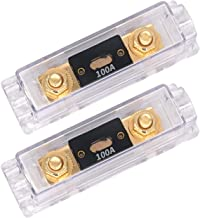 TopstrongGear Solid Brass 0/2/4 Gauge 100Amp ANL Fuse Holder with 100Amp Fuses(2 Pack) (100 Amp)