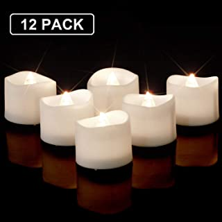 Homemory Modern Bright White Battery Tea Lights Bulk, Set of 12 Flameless LED Tea Candles, Electric Tea Lights with Flickering, 1.4'' D X 1.25'' H, Batteries Included