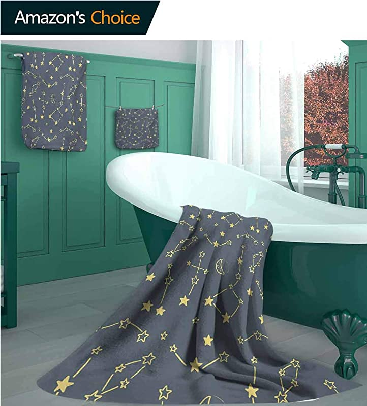 Constellation Cotton Towels Set Group Of Stars With Connecting Lines Astronomy Themed Crescent Moon 1 Bath Towels 1 Hand Towels And 1 Washcloths Soft Highly Absorbent Blue Grey Yellow