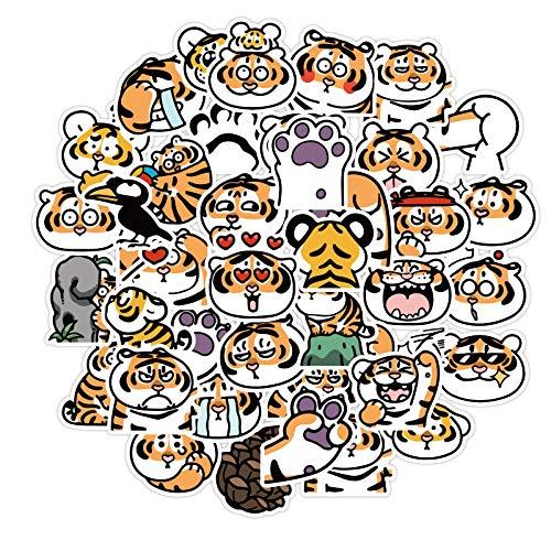 Riman ins de dibujos animados lindo pequeño tigre iPad etiqueta engomada línea emoticon paquete de computadora relx taza de agua teléfono móvil pegatina 40pcs
