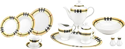Majestic Porcelain G1634-49 49-Piece Dinner Set, Nova Check British Pattern Place