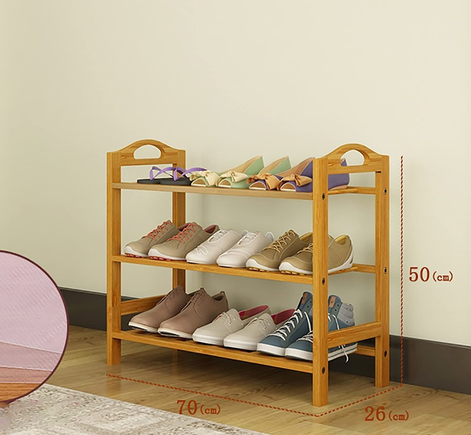 shoes Bench Organizing Rack Natural Bamboo shoes Rack Three-Layer Unit Shelf Simple Storage shoes Rack (Size   70  26  50cm)