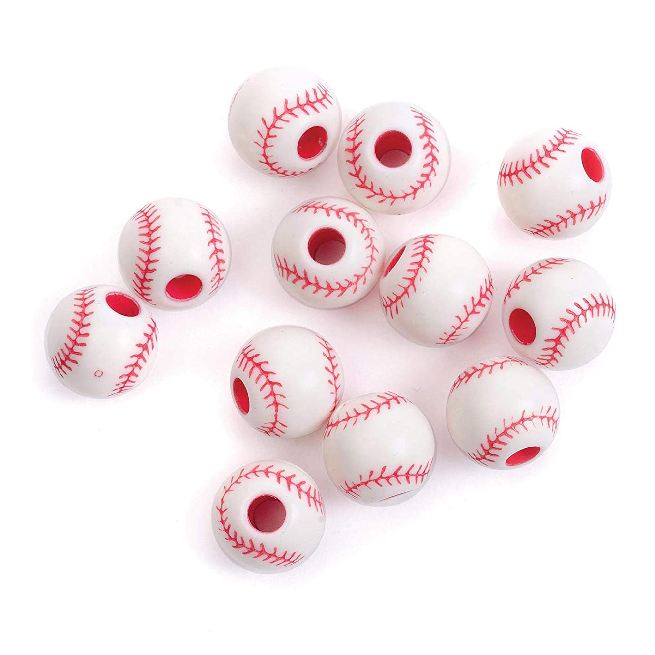 Bulk Buy: Darice DIY Crafts Team Sport Beads Acrylic Baseball Red and White 12mm (6-Pack) 1940-61