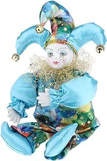 SM SunniMix 33cm Porcelain Hanging Foot Clown Doll Harlequin Doll, Home Office Desk Shelf Display Ornaments, A