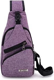 JLCK Bolso bandolera, bolso cruzado, hombro al aire libre, impermeable, paquete de pecho informal con puerto para auricula...