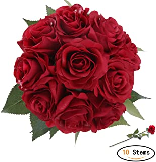 StarLifey Artificial Flowers, Real Touch Pu Flowers Silk Rose Home decorations for Bridal Wedding Bouquet, Valentine's Day Gifts Birthday Flowers Bunch Hotel Party Decor Red