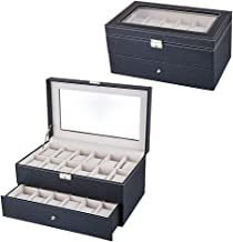 Jenny.Ben Leather Mechanical Watch Storage Box Home Waterproof high-Grade Double-Layer 24 Position Watch Box Storage Long 24 Grid
