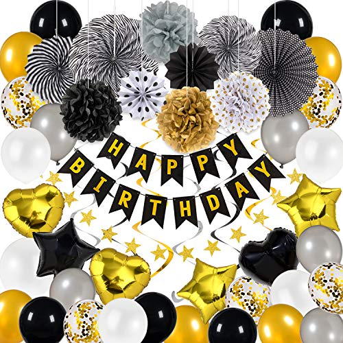 Whaline 66Pcs Black and Gold Party Decorations, Happy Birthday Kit with Paper Pompoms,Paper Fans,Happy Birthday Banner,Hanging Swirls,Latex Balloons,Star Heart Foil Balloons,Star String Banner