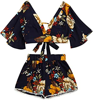 Casual Women Shirt Set Botanical Print Summer V Collar Top Shorts Beachwear