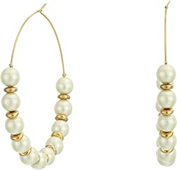 Light Cultura Pearl with Gold/Large Hoop Wire Earrings