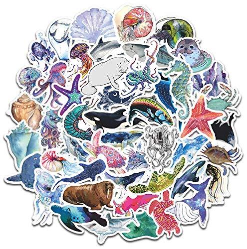 Dream Ocean Series Cartoon Aquatic Waterproof Stickers Mobile Phone Notebook Skateboard Bike Charger Stickers 50 Sheets