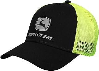 قبعة شبكية John Deere Hi-Viz مع شعار مطاط، أسود، أسود/هاي فيز أصفر، مقاس واحد