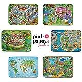 Pink Papaya Spiel-Teppich für Kinder, Ultra-weiche Straßen-Matte, 100 x 150 cm Straßenteppich Mittelalter, mit Burg, Wassergraben, Drache und Ritter-Turnierplatz, für Jungen und Mädchen - 6