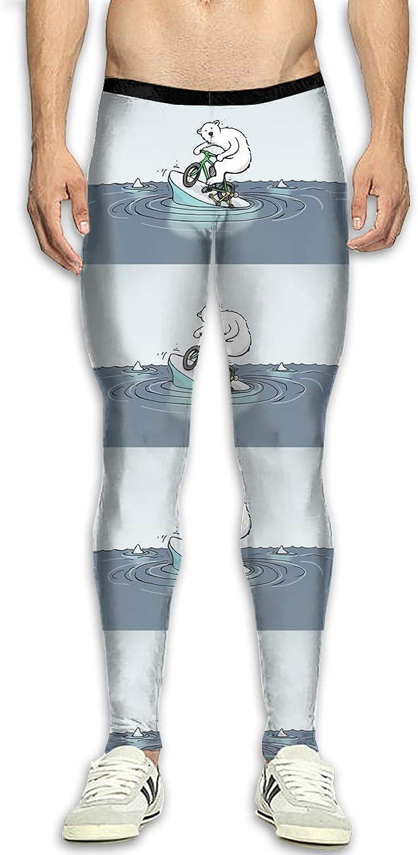 Techdecorhomee Mens Compression Leggings Yoga Pants Cartoon Polar Bear Bike Pattern Workout Tights High Waist Sports Jogger White