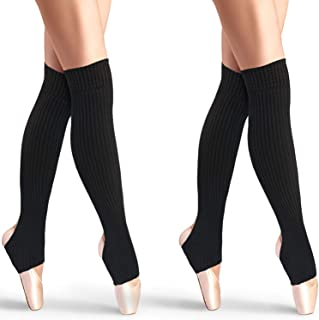 2 Pares de Calentadores de Pierna de Estribo Calcetines Sobre Rodilla Rectos 21,65 Pulgadas Calcetines de Baile Ballet Calcetines Puños de Bota Latín Yoga para Mujeres y Chicas (Negro)