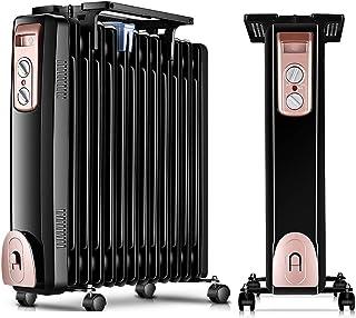 ZDYLM-Y Radiador de Aceite portátil, Calentador de Aceite portátil 2000W con termostato Ajustable, sobrecalentamiento y de vuelco Protección,13oilfilled