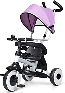 BABY JOY 4-in-1 Kids Tricycle Folding Baby Tricycle w/Adjustable Awning, Folding ABS Foot Pedals, Storage Bag, Sponge Guardrail, Shock-Absorbing Wheels, Tricycle for Children Aged 1-5 Years Old