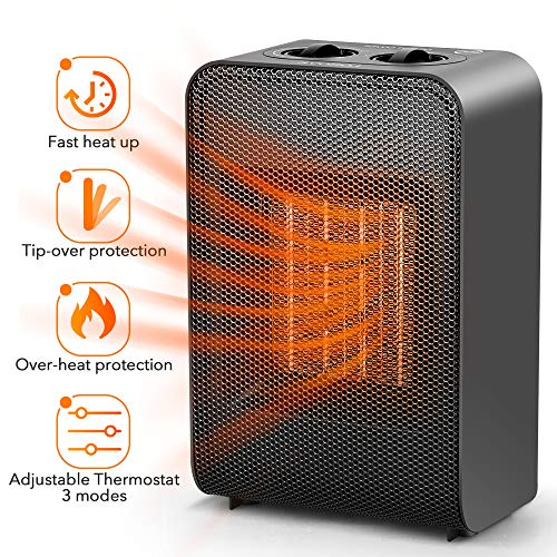 Ceramic Space Heater Office Home - Electric Heaters Portable for Indoor Use Bedroom Under Desk Garage Baby Room, 1500W PTC Portable Small Personal Space Heater with Adjustable Thermostat Ceramic Heater Space