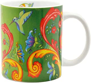 Scandinavian Rosemaling Motif Green Design Ceramic Gift Coffee Mug by E.H.G   10 oz