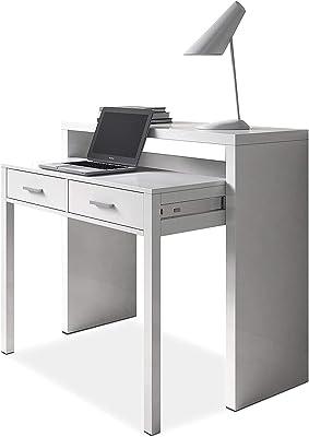 SERMAHOME- Consola Decorativa Extensible Convertible en Mesa Escritorio. Color Blanco Ártico. Medidas Cerrada: 98 x 87 x 36 cm.: Amazon.es: Hogar