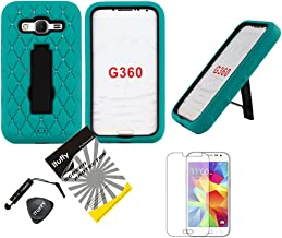 For Samsung Galaxy Core Prime G360 / Boost Mobile Samsung Galaxy Prevail LTE / ITUFFY 4items Combo: Stylus Pen + Prying Tool + LCD Screen Protector Film + Dazzle Bling Dual Layer Tuff Hybrid Armor Case Soft Rubber Exterior ; Plastic Interior ; Built-in Kickstand (Dazzle Kickstand Green)