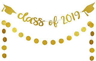 2019 Graduation Party Decorations,Gold Glittery Class of 2019 Banners and Gold Glittery Circle Dots Garland- Graduation/Grad Party Decorations